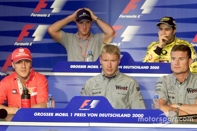 Thursday press conference: Michael Schumacher, Ferrari and Ralf Schumacher, BMW Williams and Mika Hakkinen, McLaren and Heinz Harald Frentzen, Jordan, and David Coulthard, McLaren