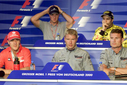 Thursday press conference: Michael Schumacher, Ferrari and Ralf Schumacher, BMW Williams and Mika Hakkinen, McLaren and Heinz Harald Frentzen, Jordan, and David Coulthard, McLaren