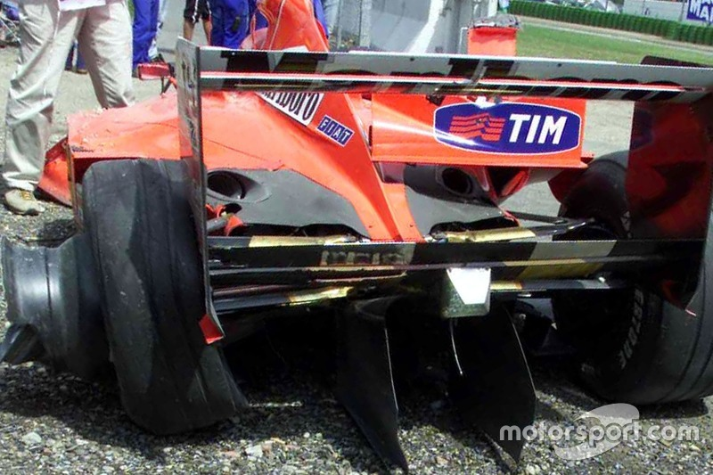 The damaged Ferrari of Michael Schumacher