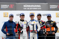 Race 1 winner Jack Aitken, Koiranen GP, second place Ukyo Sasahara, ART Junior Team, third place Matevos Isaakyan, JD Motorsport, best rookie Jehan Daruvala, Fortec Motorsports