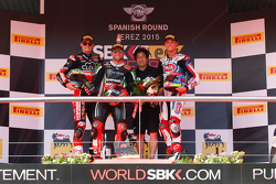Race 1 podium : second place Chaz Davies, Ducati Team, winner Tom Sykes, Kawasaki, third place, Michael van der Mark, Pata Honda