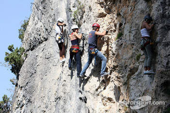 Formula Unas girls in a mountain climbing expedition: Katja Semenoca, Tahnee Frijters and Bebecca Blomgren