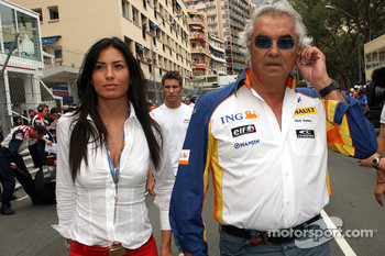 Flavio Briatore, Renault F1 Team, Team Chief, Managing Director and his fiancee, Elisabetta Gregoraci, Lingerie Model