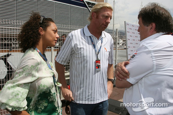 Boris Becker, Retired Tennis player and his girlfriend with Norbert Haug, Mercedes, Motorsport chief