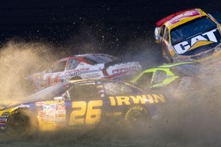 Jamie McMurray, Dave Blaney and Martin Truex Jr. involved in a crash