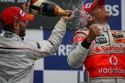 2nd place Nick Heidfeld, BMW Sauber F1 Team and 1st place Lewis Hamilton, McLaren Mercedes