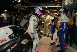 Provisional pole winner Stéphane Sarrazin celebrates