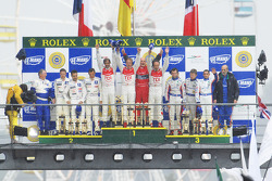 LMP1 podium: overall winners Marco Werner, Frank Biela, Emanuele pirro, second place pedro Lamy, Stéphane Sarrazin, Sébastien Bourdais, third place Emmanuel Collard, Jean-Christophe Boullion, Romain Dumas
