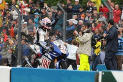 Second place Colin Edwards celebrates