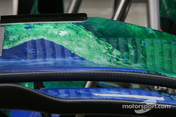Honda Racing F1 Team, RA107, front wing detail, list of names on the front wing