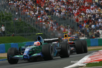 Rubens Barrichello, Honda Racing F1 Team, RA107 and Mark Webber, Red Bull Racing, RB3