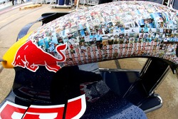Red Bull Racing, run with different livery, faces on the car- Formula 1 World Championship, Rd 9, British Grand Prix, Wednesday