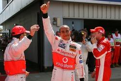 Pole Position, 1st, Lewis Hamilton, McLaren Mercedes, MP4-22, 2nd, Kimi Raikkonen, Scuderia Ferrari, F2007, 3rd, Fernando Alonso, McLaren Mercedes, MP4-22