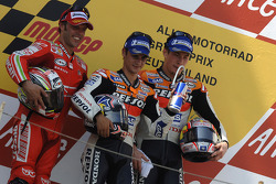 Podium: race winner Dani Pedrosa with Loris Capirossi and Nicky Hayden