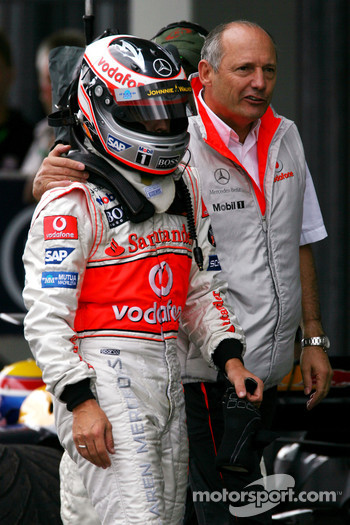 Race winner Fernando Alonso with Ron Dennis
