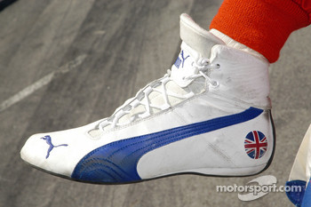 A British symbol is sported on the shoes of Darren Manning