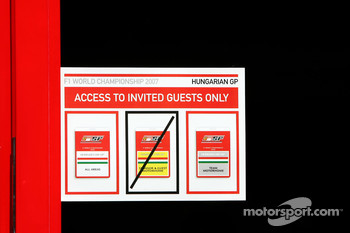 Signage on Scuderia Ferrari, Motorhome door