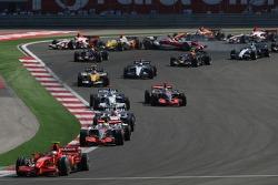 Kimi Raikkonen, Scuderia Ferrari, F2007,  Lewis Hamilton, McLaren Mercedes, MP4-22 and Robert Kubica, BMW Sauber F1 Team, F1.07