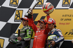 Podium: race winner Loris Capirossi with Randy De Puniet and Toni Elias