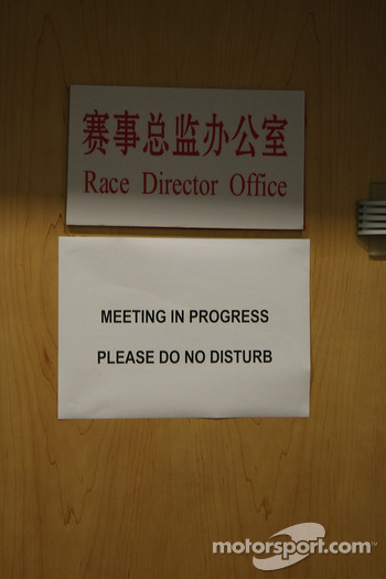 Note on the race Director offices during the stewards meeting with Lewis Hamilton, McLaren Mercedes