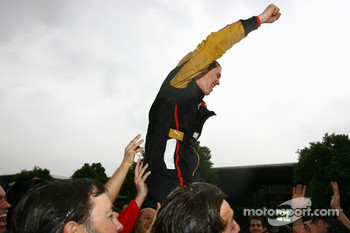 Sebastian Vettel, Scuderia Toro Rosso, celebrates after finsishing 4th