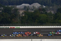 Jimmie Johnson leads Jeff Gordon with two laps to go