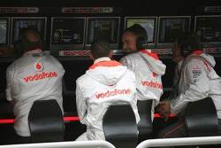 Ron Dennis, McLaren, Team Principal, Chairman,  Lewis Hamilton, McLaren Mercedes, Martin Whitmarsh, McLaren, Chief Executive Officer and Norbert Haug, Mercedes, Motorsport chief on the pitwall