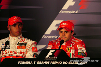 FIA press conference: pole winner Felipe Massa with second place Lewis Hamilton