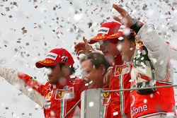 Podium: race winner and 2007 World Champion Kimi Raikkonen, second place Felipe Massa, third place Fernando Alonso, and Jean Todt
