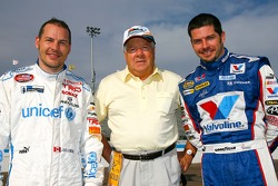 Canadian stock car legend Jean-Paul Cabana stands with Jacques Villeneuve and Patrick Carpentier