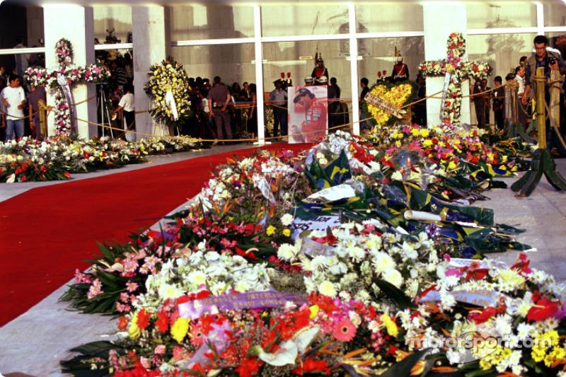 Flowers and memorials for Ayrton Senna