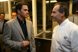 Jimmie Johnson the 2007 NASCAR Nextel Cup Series Champion chats with Waldorf Astoria Executive Chef John Doherty at the Private Champions Dinner at the Waldorf Astoria Hotel