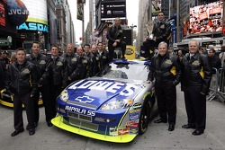 Jimmie Johnson and the No. 48 team poses for a photo in Times Square