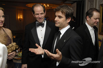 Jeff Gordon talks to New York State Governor Eliot Spitzer and guests in the NASCAR hospitality suite prior to the NASCAR Nextel Cup Series Awards Ceremony at the Waldorf Astoria