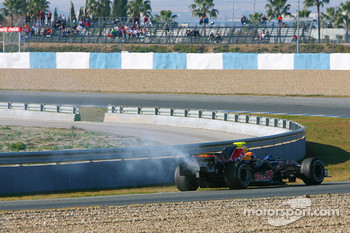 Mark Webber, Red Bull Racing, RB3, stopped on track with mechanical problems