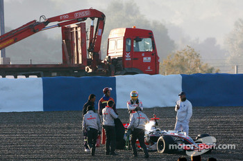 Lewis Hamilton, McLaren Mercedes after stopping in the gravel