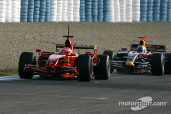 Michael Schumacher, Test Driver, Scuderia Ferrari, David Coulthard, Red Bull Racing