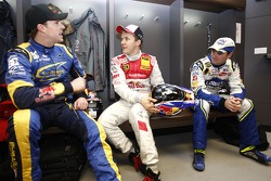 Petter Solberg, Mattias Ekström and Jimmie Johnson in the drivers briefing