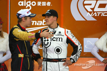 Podium: Nations Cup winners Sebastian Vettel and Michael Schumacher
