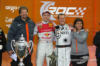 Podium: Race of Champions winner Mattias Ekström celebrates with second place Michael Schumacher, Fredrik Johnsson and Michèle Mouton