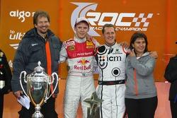 Podium: Race of Champions winner Mattias Ekström celebrates with second place Michael Schumacher, Fredrik Johnsson and Michèle Mouton