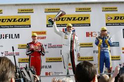 Race 1 Podium: second place Gorden Shedden, Honda Yuasa Racing and winner Mat Jackson, Motorbase Performance and third plae Andrew Jordan, MG 888 Racing