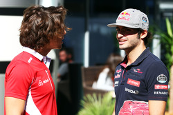 (L to R): Roberto Merhi, Manor F1 Team with Carlos Sainz Jr., Scuderia Toro Rosso