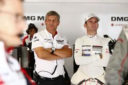 Fritz Enzinger, Head of Department LMP1 Porsche Team with Romain Dumas, Porsche Team