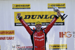 Gordon Shedden celebrating winning the 2015 British Touring Car Championship