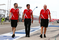 (L to R): Marc Hynes, Manor Marussia F1 Team Driver Coach with Graeme Lowdon, Manor Marussia F1 Team Chief Executive Officer and John Booth, Manor Marussia F1 Team Team Principal