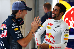 (L to R): Pierre Gasly, Red Bull Racing Test Driver with Daniel Ricciardo, Red Bull Racing