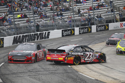 Brett Moffitt, Front Row Motorsports Ford and Jeb Burton, BK Racing Toyota