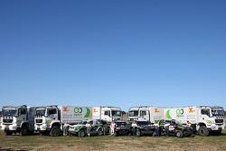 X-Raid: Paulo Nobre, Filipe Palmeiro, Miguel Barbosa, Miguel Ramalho, Nasser Al Attiyah, Bruno Saby and Alain Guehennec with X-Raid cars and trucks