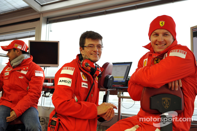 Felipe Massa, Chris Dyer and Kimi Raikkonen